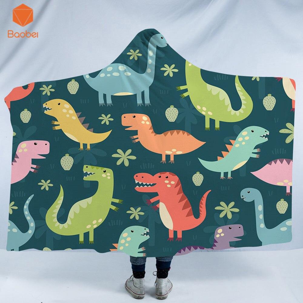 Manta con capucha 3D impreso dinosaurio Thicking para adulto gótico Sherpa polar ropa de cama de microfibra