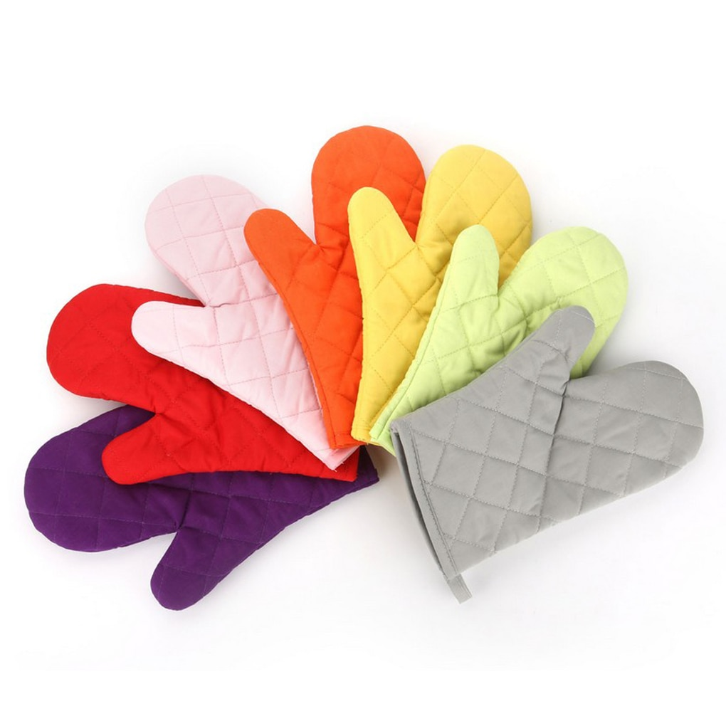 Hot Sale 1/2PCS Oven Mitts Heat Resistant Microwave Oven Glove Cotton Linen Baking BBQ Non-slip Oven Mitts Kitchen Cooking Tools