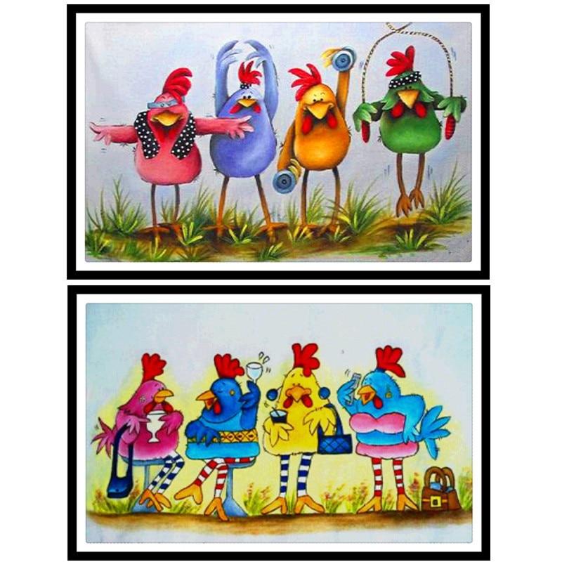 5D DIY pintura de diamantes Animal cuatro pollos adorables bordado de diamantes Diamantes cuadrados completa punto de cruz mosaico decoración del hogar regalo