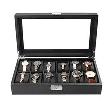 Carbon Fiber High-Grade 12 Slots Display Design Jewelry Display Watch Box Storage Black Watch Holder Case