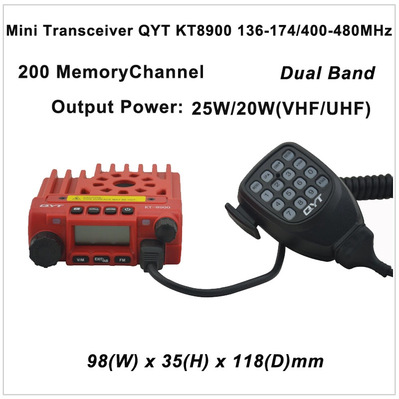 QYT KT-8900 Mini Transceiver QYT KT8900 136-174/400-480 MHz zweiwegradio Dual band mobilfunkgerät Farbe rot