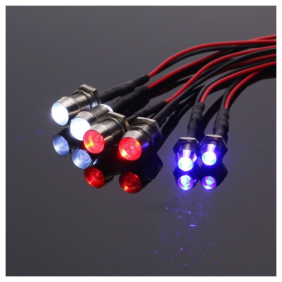 New 6 LED Light Kit 2 White 2 Red 2 Blue for 1/10 1/8 Traxxas HSP SCX10 D90 HPI RC Car