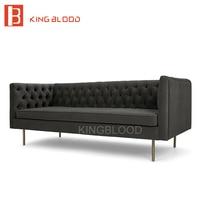 Latest fashion luxury black color button velvet sofa set designs for living room