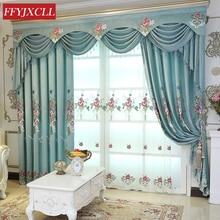 Nouveau bleu pivoine haute qualité brodé rideaux occultants fenêtre pour salon chambre cuisine Tulle rideaux cantonnière rideaux