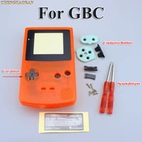 clear orange full housing shell case cover for gbc gameboy color with conductive rubber screwdrivers