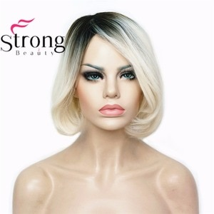 StrongBeauty Women's Ombre Bob Style Short Straight Hair Wig Platinum Blonde/Dark roots Synthetic Natural Full Wigs