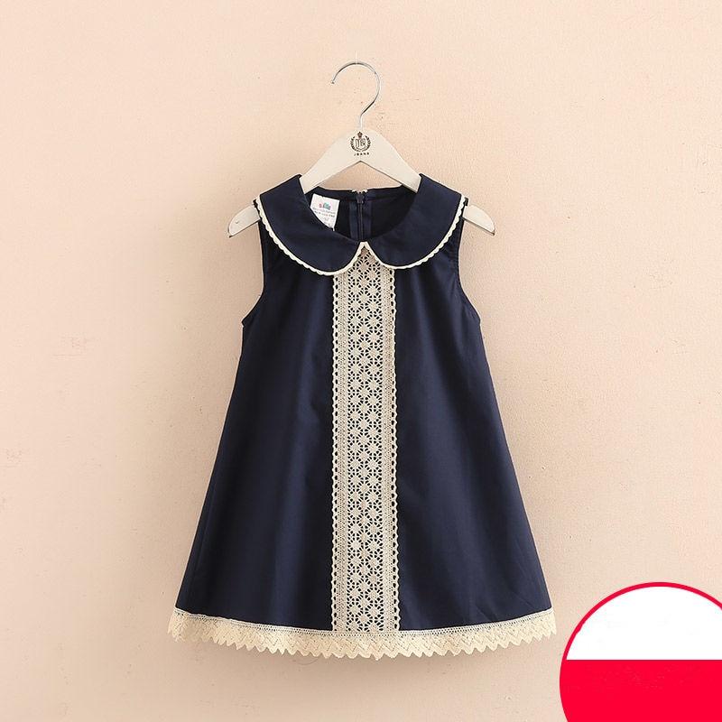 aliexpress.com - 2021 Hot Summer 3-8 10 to 12 Years Casual Kids Lace Embroidery Peter Pan Collar Sleeveless Tank Sundress Baby Girls Dress Cotton
