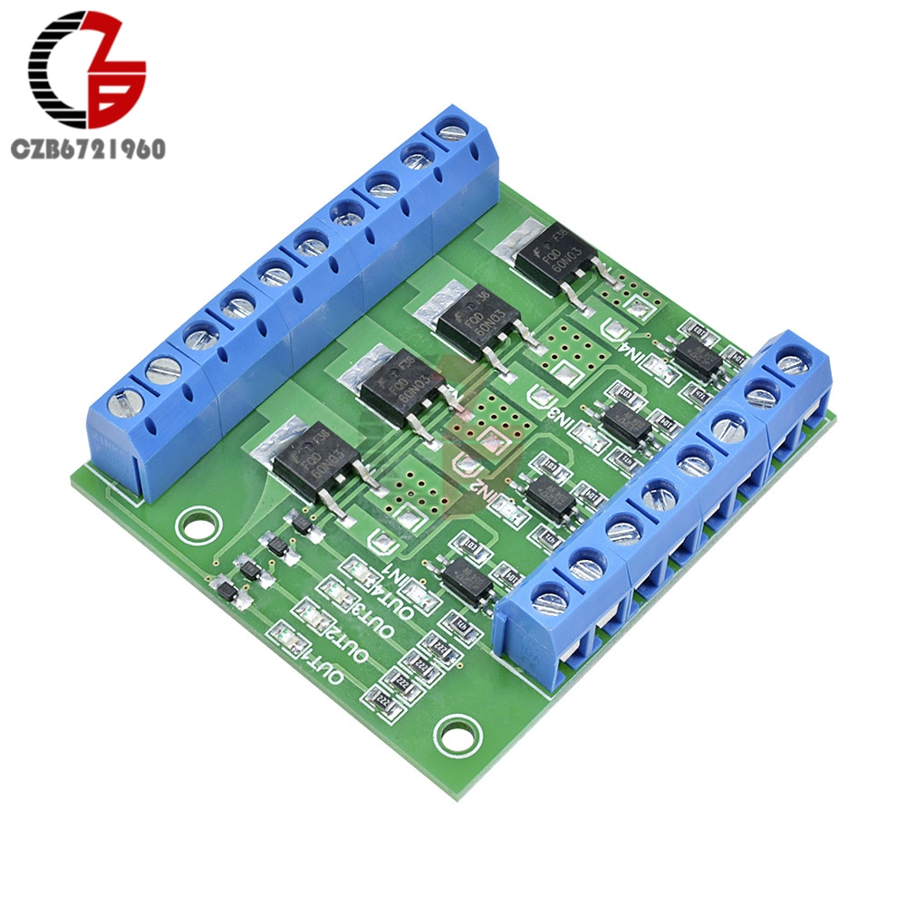 Tablero controlador de interruptor de gatillo de pulso de 4 canales MOS FET optoacoplador PWM tablero controlador de optoaislador para luz LED de motor