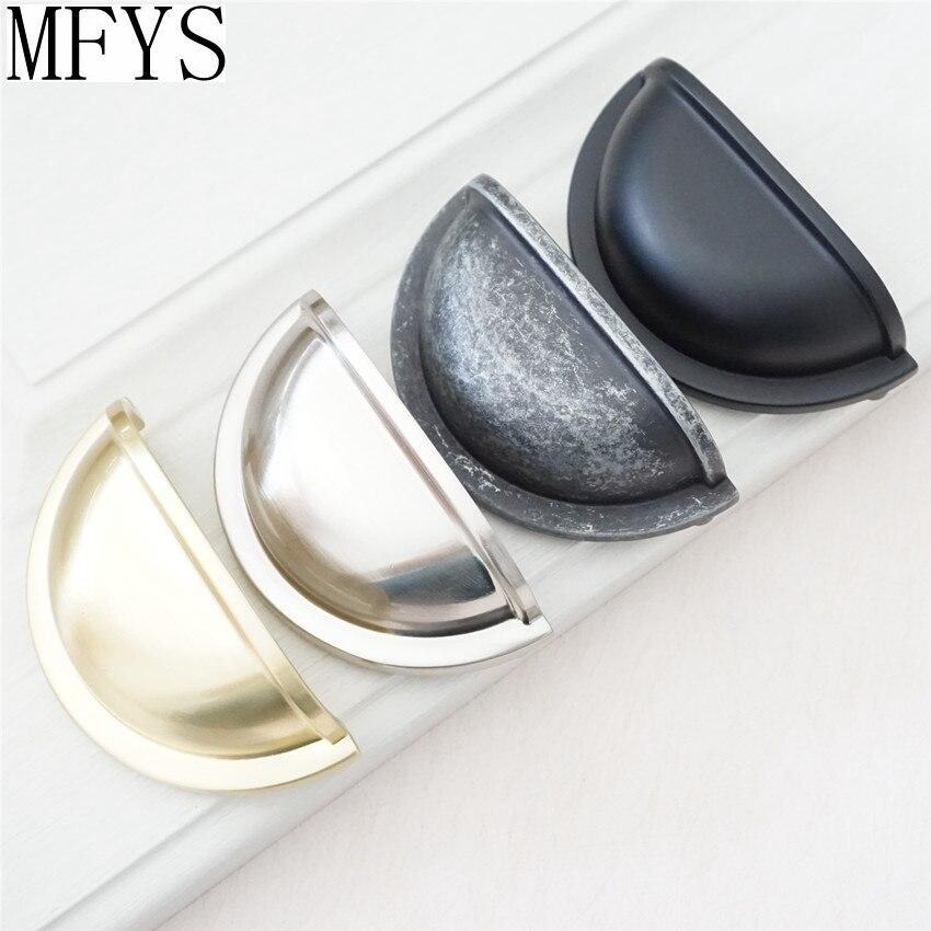 """3 """"gaveta/cômoda puxa botões alças concha copo bin clássico armário knob puxa cozinha níquel aço preto antigo prata 76 mm"""