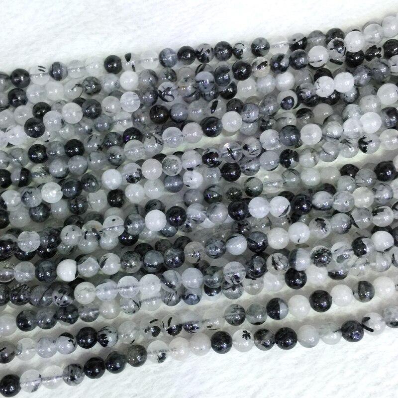 """Natural blanco auténtico negro pelo aguja rutilo cuarzo redondo cuentas sueltas 6-12mm 15 """"05398"""
