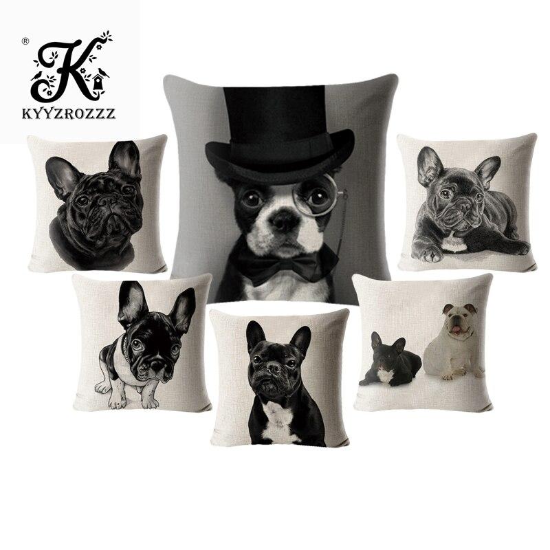 Buldogue francês fronha almofada animais linho algodão 45*45 quadrado cão capa para sofá casa decorativa impresso jogar fronha