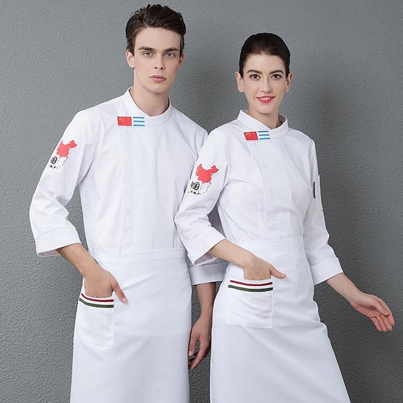 Chef o Desgaste Longo-sleeved Dos Homens e das Mulheres Do Hotel Restaurante Cozinha Cozinhar Trabalho Roupas Bolo de Macarrão Mestre Masculino traje feminino H2014