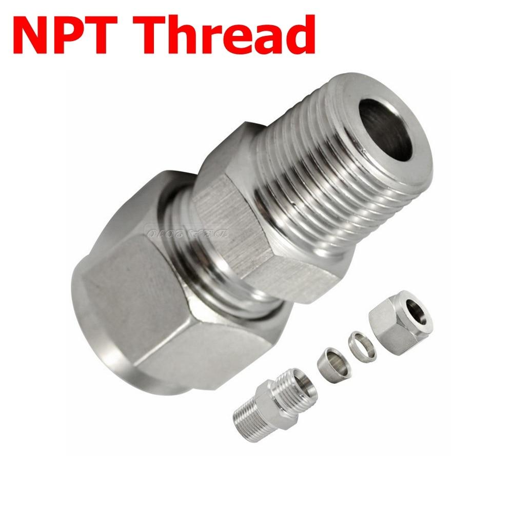 "2 Pcs 3/8 ""NPT Rosca Macho x 3/8"" (9.52mm) OD Tubo Duplo Virola Tube Arranjo conector de Aço Inoxidável NPT 304"