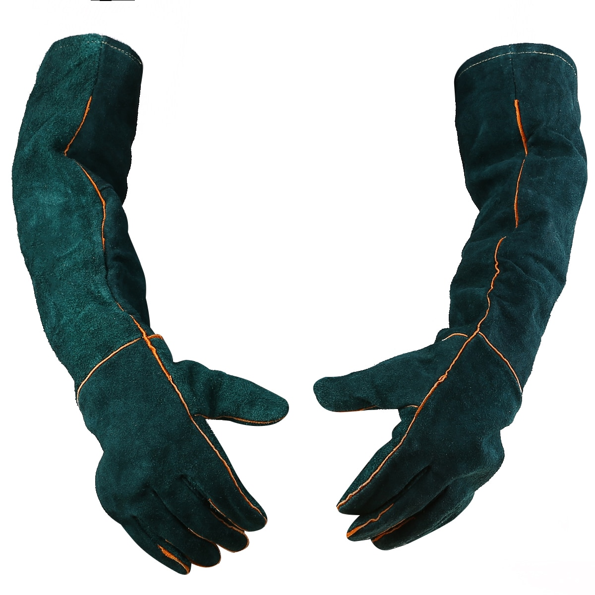1pair Cowhide Welding Gloves Long Heat Resistant Gloves Safety Protective Leather Gear Working Glove