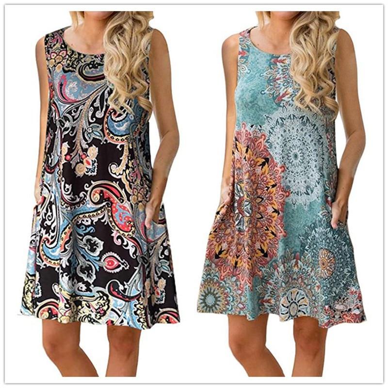 Summer Beach Dress 2019 Women Sleeveless Boho Print Dress Casual O-Neck Pockets A-Line Loose Dress Plus Size 2XL Vestidos