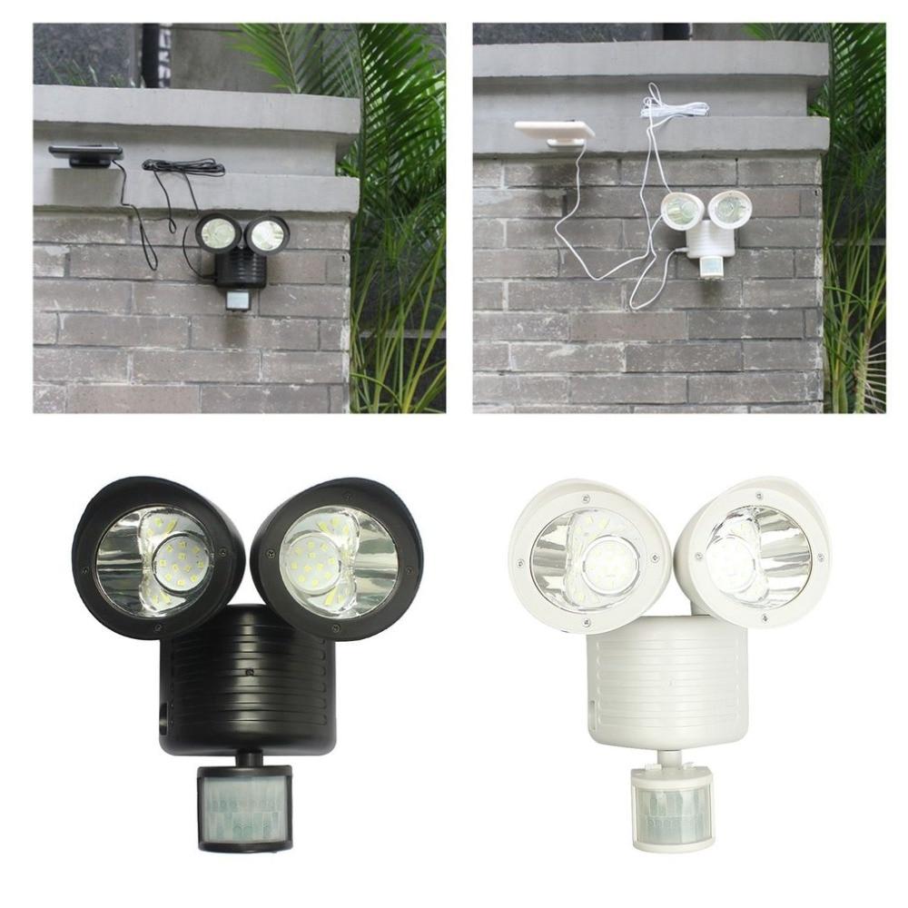 22 Solar LED Spot luz de pared Detector de seguridad Dual luz Sensor de movimiento al aire libre del reflector para jardín paisaje