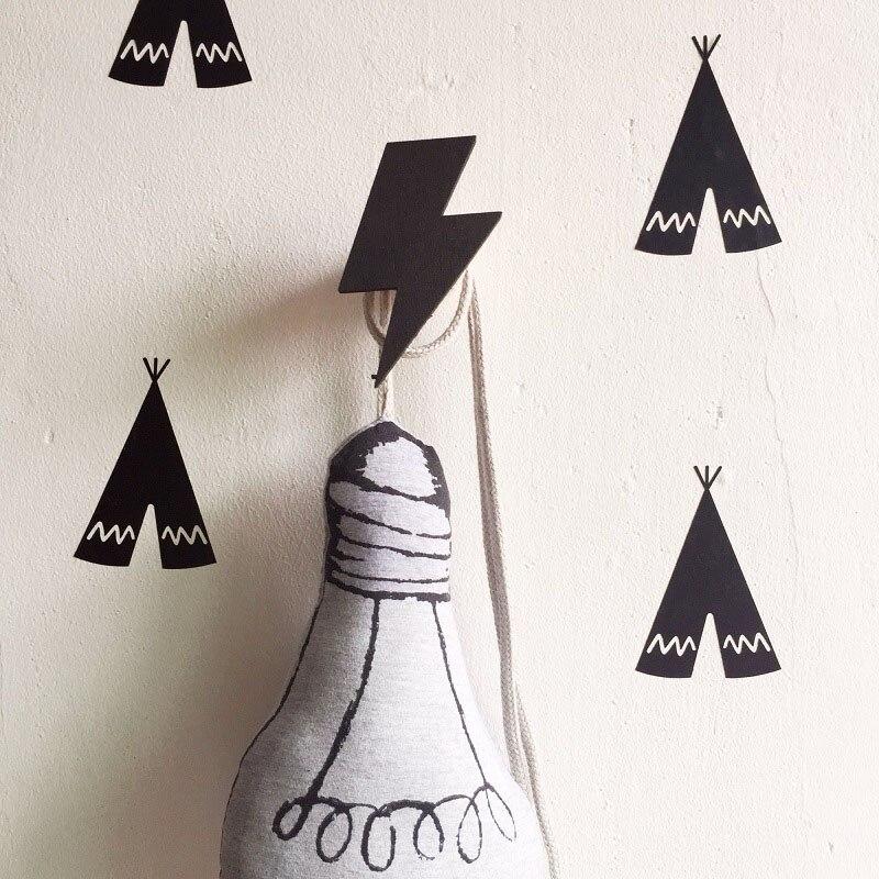 Gancho de madera para pared de estilo nórdico INS para decoración de habitación de niños ganchos de madera para colgar ropa de bebé soporte para abrigos y llaves organizador29