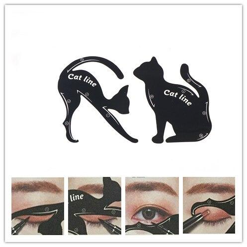 1Set Women Cat Line Eyeliner Stencils DIY Pro Eye Template Shaper Model Easy To Makeup Tool