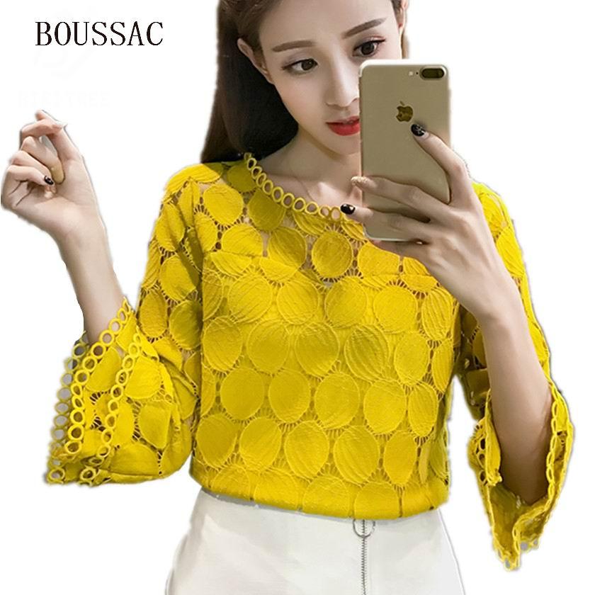 Большие размеры открытые кружевные блузки рубашки новая осенняя Корейская