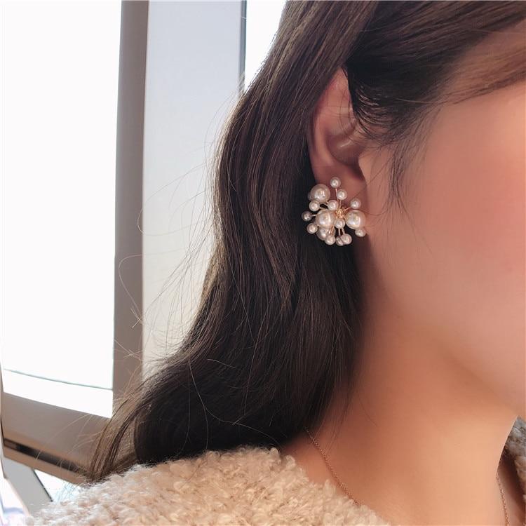 AliExpress - New Fashion Women Vintage Simulated Pearl Beads Stude Earrings Elegant Flower Fireworks Shape Pendientes Girl Ear Jewelry Gifts