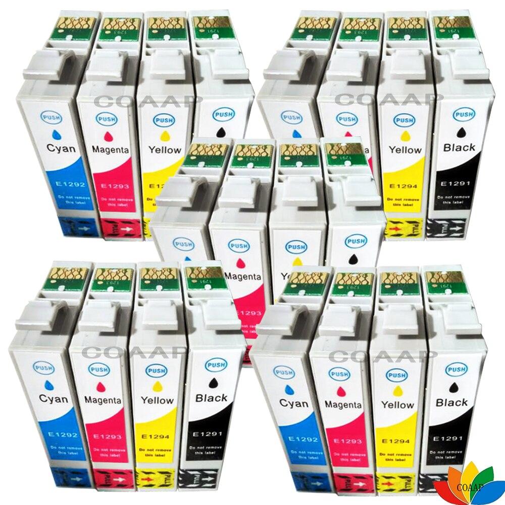 20pk Compatible 129 T1295 tintas para EPSON WF 7015 de 7515 de 7525 Stylus SX425W SX235W SX420W SX438W SX440W SX445W impresora