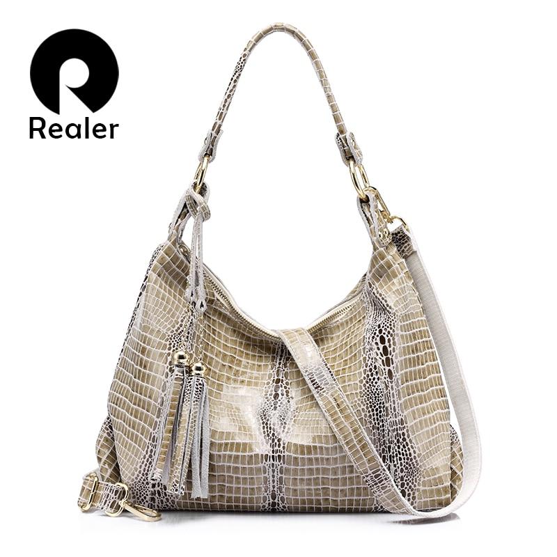 Realer women's handbags genuine leather new arrive large shoulder bag female crocodile pattern hobos bag with tassel