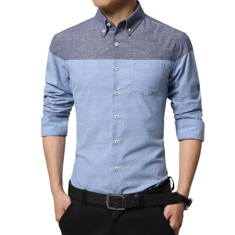 Moda 2019, camisas de algodón para hombres, camisa de manga larga de negocios, ajustada, de franela, informal, a rayas, camisas de diseño famoso para hombre