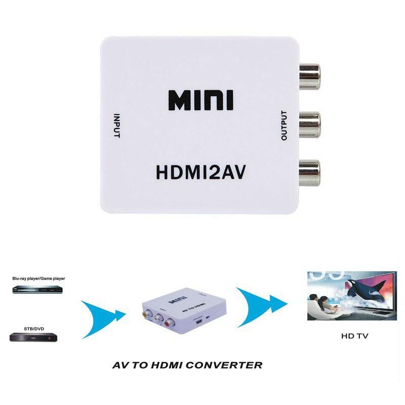 Nuevo 1080 P HDMI a AV adaptador HDMI a CVBS convertidor HDMI RCA adaptador de señal NTSC PAL para TV PS3 VHS DVD, VCR, DDA55-P3841