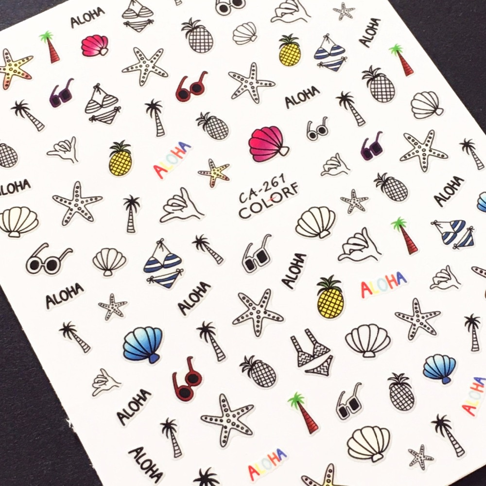 Newest CA-261 sea shell design 3d nail stickers back glue DIY decal decoration for art