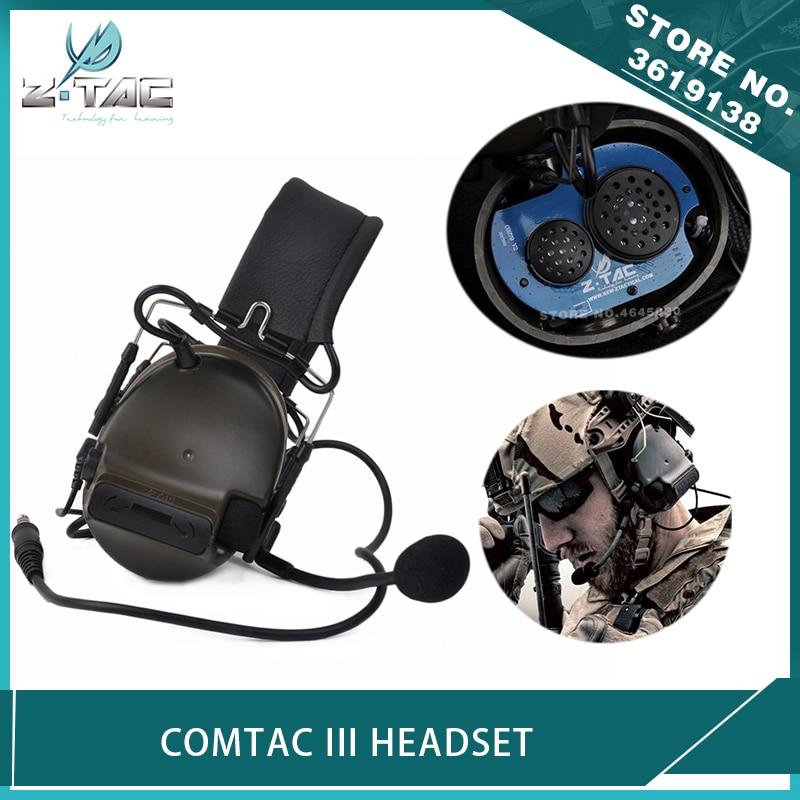 Z-Tactical Airsoft Aviation Comtac III Headset C3 Peltor Noise Canceling Headphone Softair Military Hunting Earphone