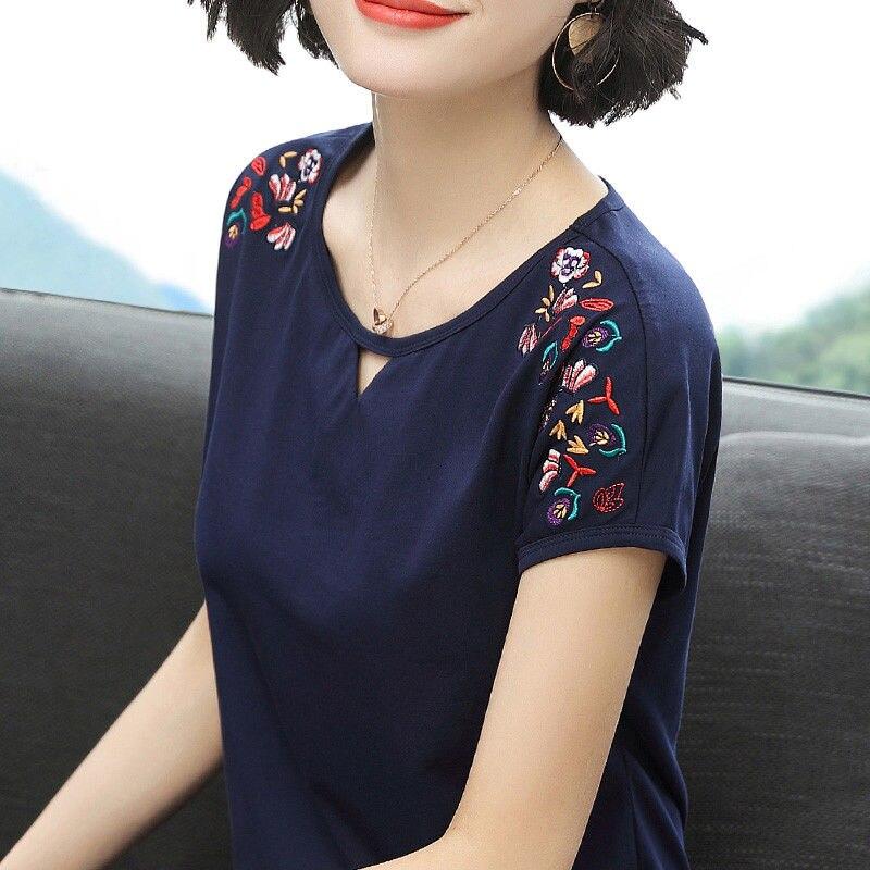 Blusa de manga de murciélago bordada, Tops sueltos e informales de verano para mujer, 95% algodón, color sólido, blanco, cuello redondo, camisetas étnicas, ropa de mujer