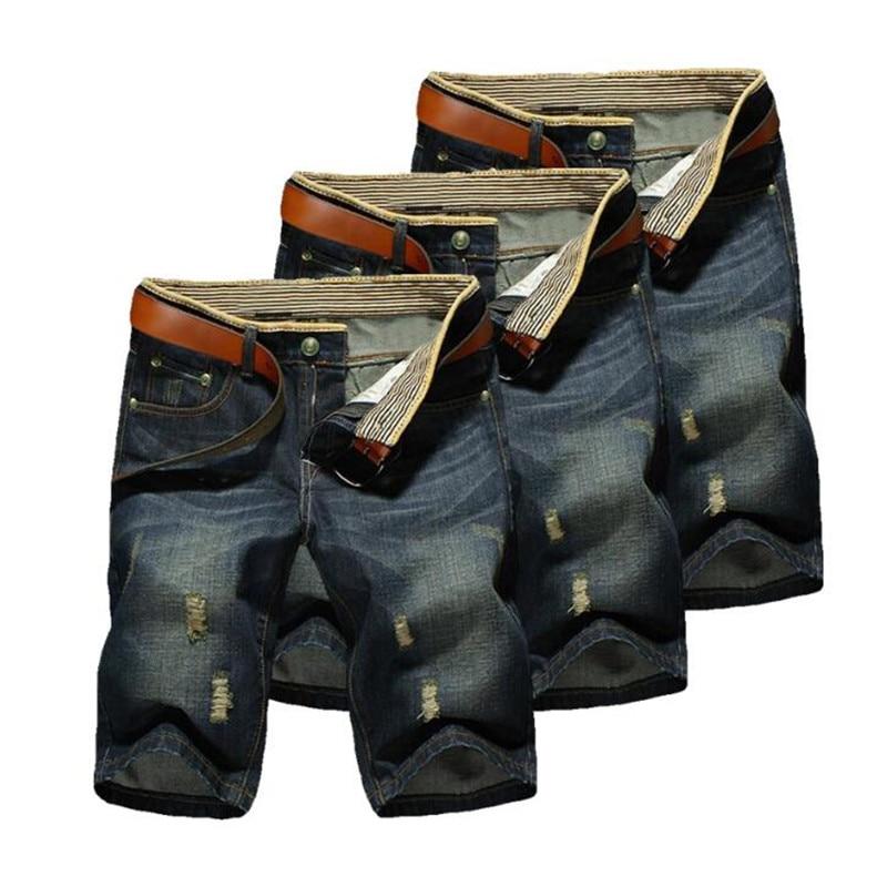 Pantalones vaqueros cortos informales para hombre, 1 Uds., pantalones cortos de algodón a la moda para verano, 2019
