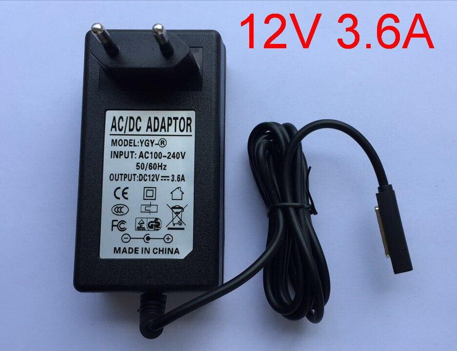 1 stks hoge kwaliteit 12 v 3.6a adapter oplader eu plug 3600ma voor microsoft surface pro/pro 2 10.6 win 8