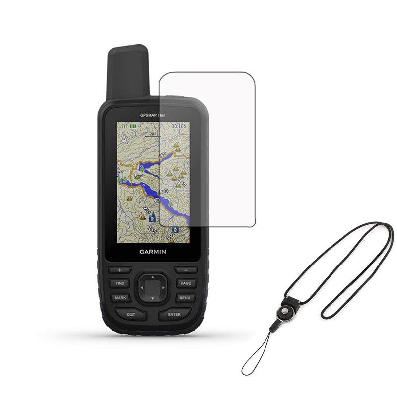 3 uds Clear LCD Shield Film Protector de pantalla + cordón desmontable para GPS de mano Garmin gpsmapa 66S 66ST 66 Accesorios