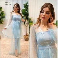 new arrival arabic long sleeve evening dresses 2020 evening gown pearls beaded prom dresses abiye kaftan dubai evening dress