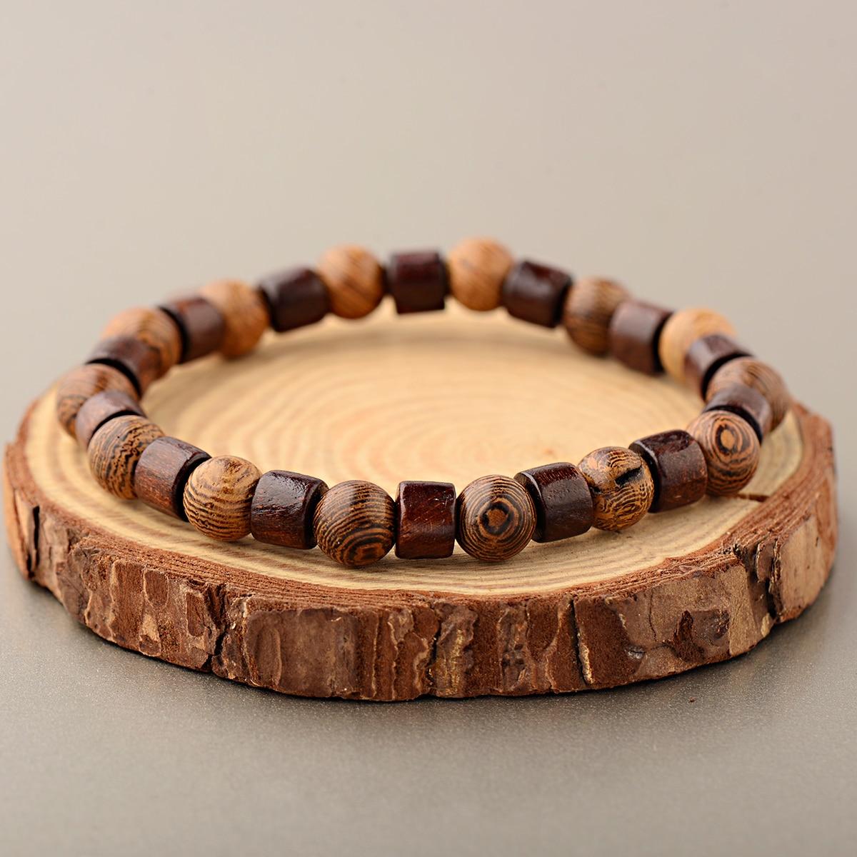 OIQUEI 8mm Natural Round Cylinder Wood Beads Bracelet Men Classic Elastic Buddhist Prayer Buddha Hommes bileklik bijoux