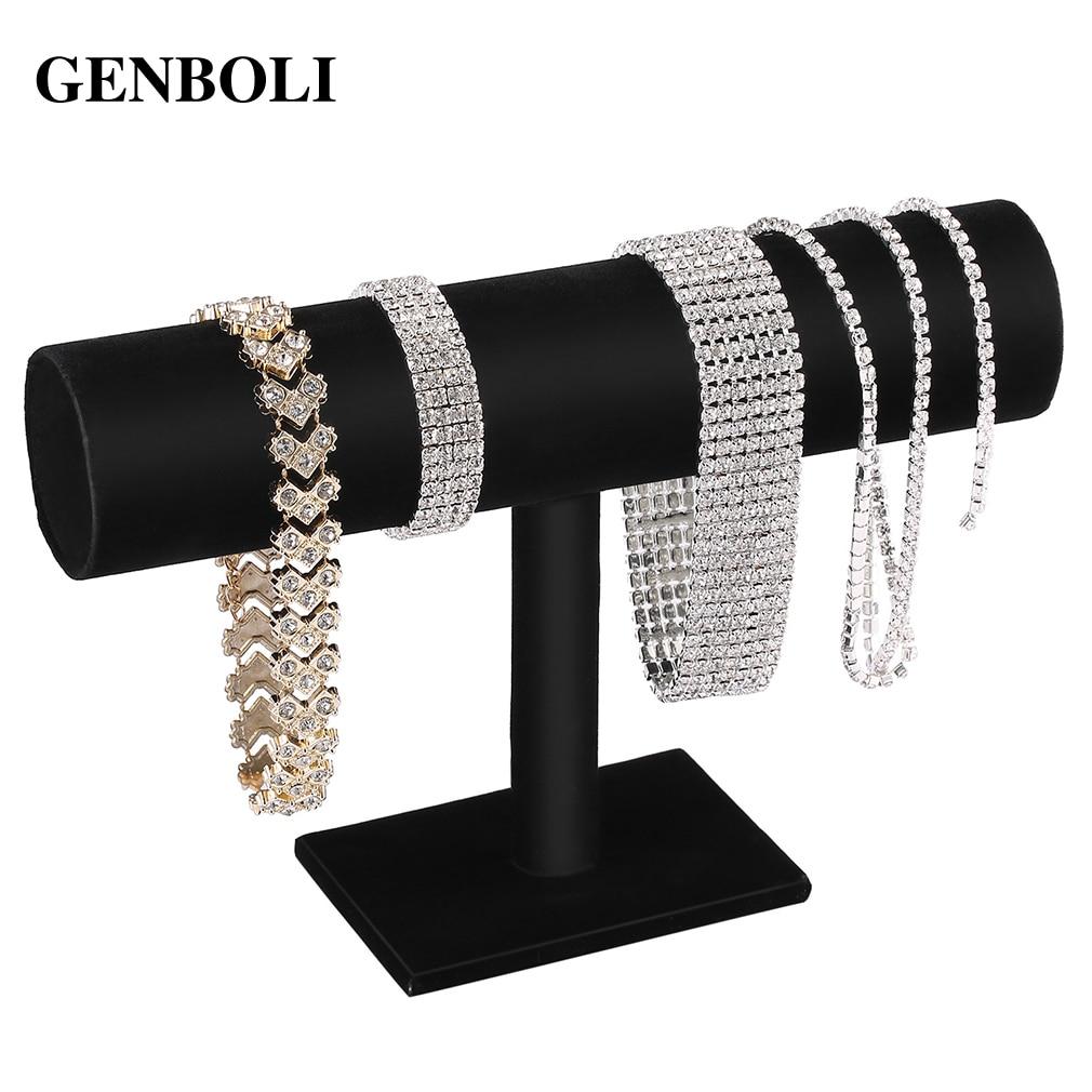 Genboli preto de veludo/couro t barra rack organizador suporte duro para pulseira corrente colar relógio moda jóias organizador