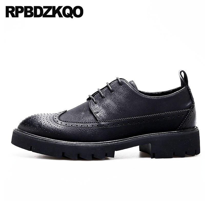 Zapatos italianos negros de oficina para hombre para boda con punta puntiaguda nueva Wingtip Oxfords elevador de negocios altura aumento plataforma Creepers