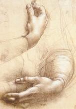 Étude des mains de Leonardo Da Vinci   Peinture sur toile peinte à la main, tableau abstrait dart mural, sans cadre