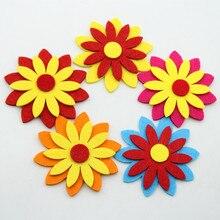 8.5CM 5pc Colorful Flower Felt Fabric Cloth Material DIY Cutting Felt Home Child Room Kindergarten Wall Decoration Craft Sticker