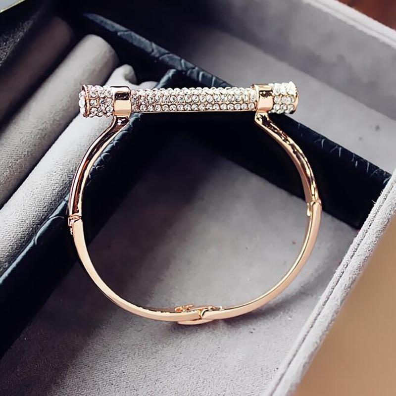 New Luxury Crystal Horseshoe Cuff Bracelets Bangles Women Bijoux Brand Design rose old Rhinestones Arm Cuff Women's Bracelet