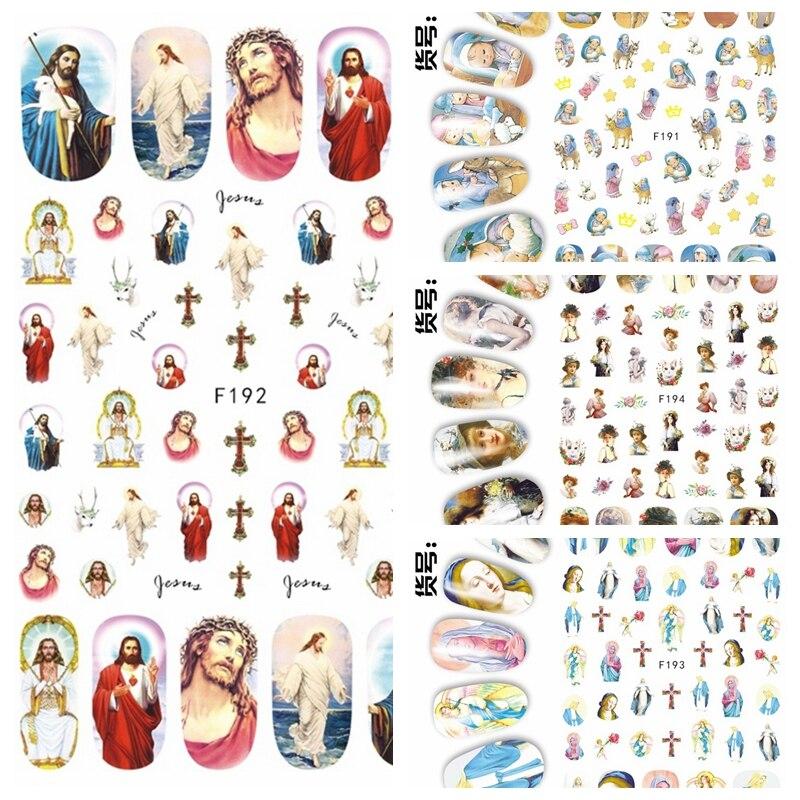 1 hoja 3D Jesus Godness The Virgin Mary pinturas de niños patrón arte adhesivo para uña pegatinas decoraciones DIY salón consejos F19X #