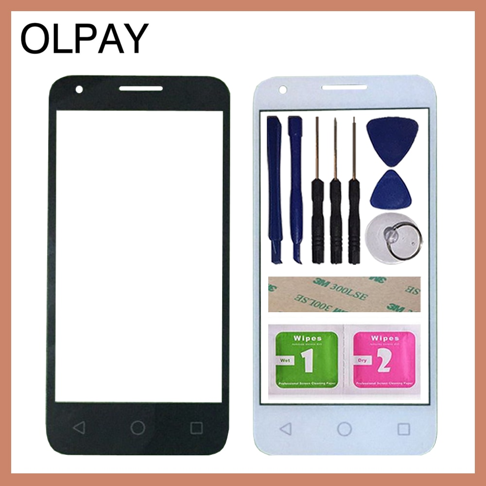 "OLPAY 4,5 ""lente táctil de cristal exterior frontal para Alcatel One Touch Pixi 3 4,5 4027D 4027X 5017 5017E OT4027 4027 VF795 velocidad 6 Panel"
