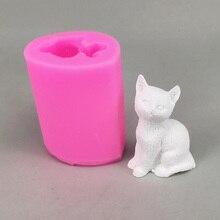 BK1086 molde 3D para velas de gato DIY, molde para Chocolate, molde decorativo 3D para jabón, moldes para decorar pasteles, herramientas