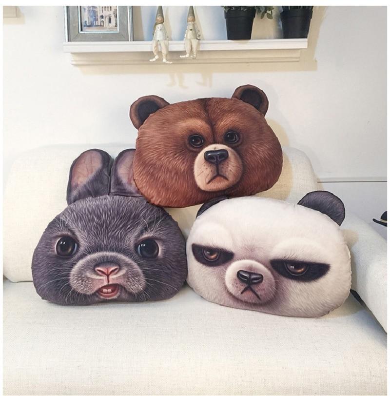 Oso marrón Linda almohada Minnie oso muñeco de conejo de felpa juguetes muñeca 3D sello cojín regalo de cumpleaños para niña hogar decorar cojines