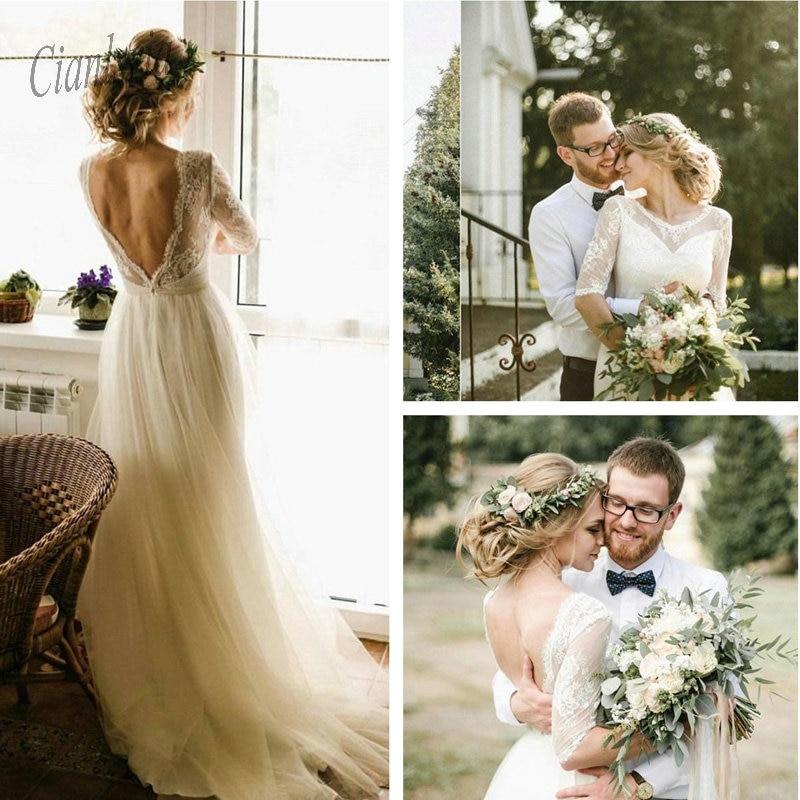 2020 nuevos vestidos de novia elegantes de línea a espalda abierta vestidos de novia de encaje de manga larga estilo bohemio campestre