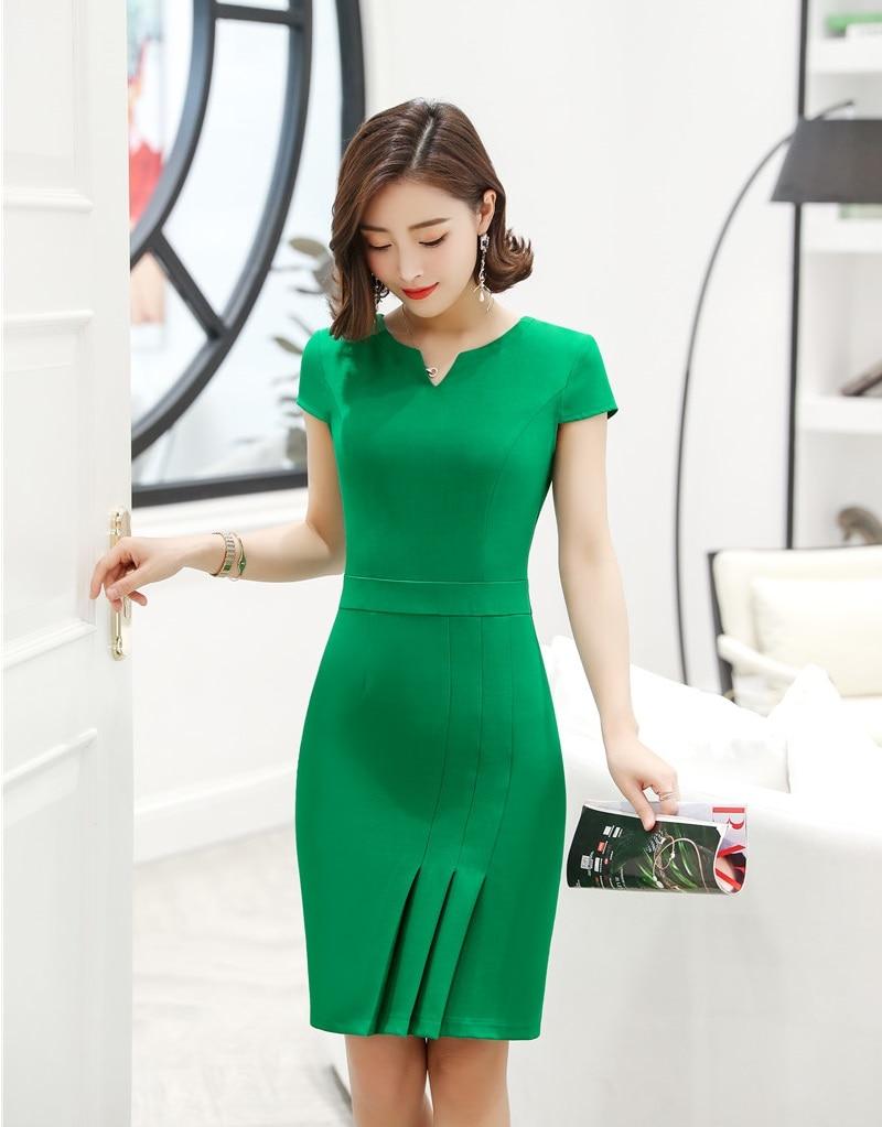 فستان نسائي ضيق من الورك النحيف للربيع والصيف ، فستان مكتب ، أخضر ، موديل OL 2019