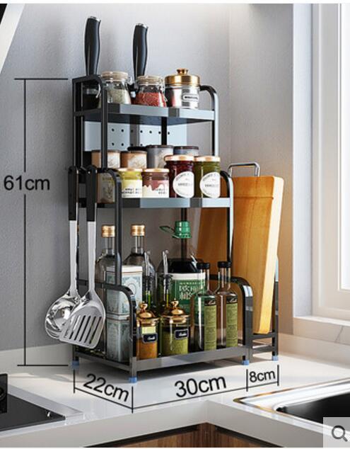 Stainless steel kitchen shelf floor seasoning shelf soy sauce vinegar bottle cutting board knife rack storage rack black