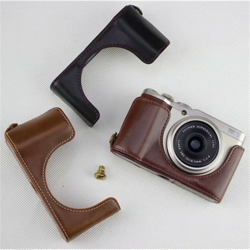 Ocotex XF10 bolsa de cámara xf10 PU Funda de cuero para Fujifilm X-F10 cubierta de medio cuerpo batería abierta en 3 colores