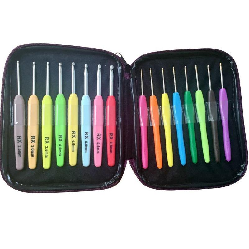 Nuevo juego de ganchos de ganchillo de 16 piezas multicolores agujas de tejer hilo de artesanía para costura en casa